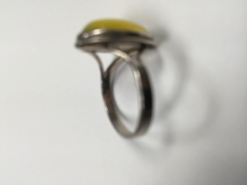 Yellow Stone Lady's Silver & Stone Ring 925 Silver 3.1g