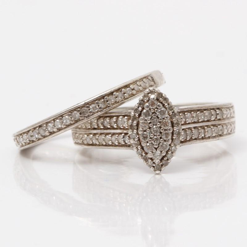 Sterling Silver Channel Set & Cluster Diamond Wedding Set Size 6.75