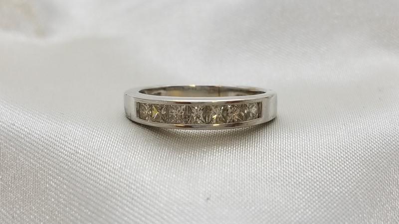 Ladies Channel Princess Cut Diamond Wedding Band 7 Diamonds .70 CTW 14K
