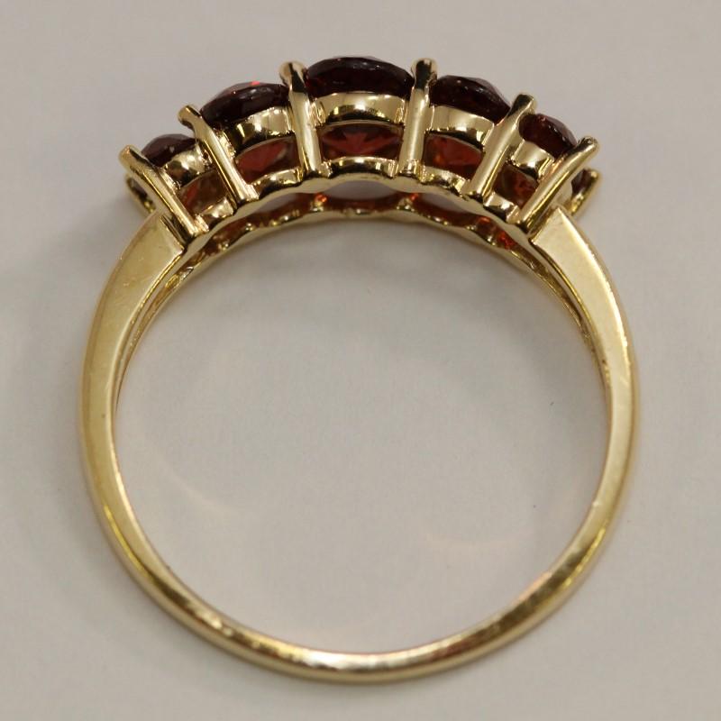 14K Red Orange Stone Ring Size 9