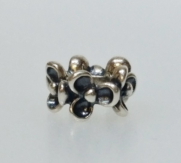 "Authentic Pandora 925 ALE Silver ""Floral Elegance"" Bead Spacer Charm 790857"