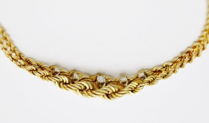 "6.5"" 14K Yellow Gold Tapered Braided Rope Diamond Chain Bracelet"