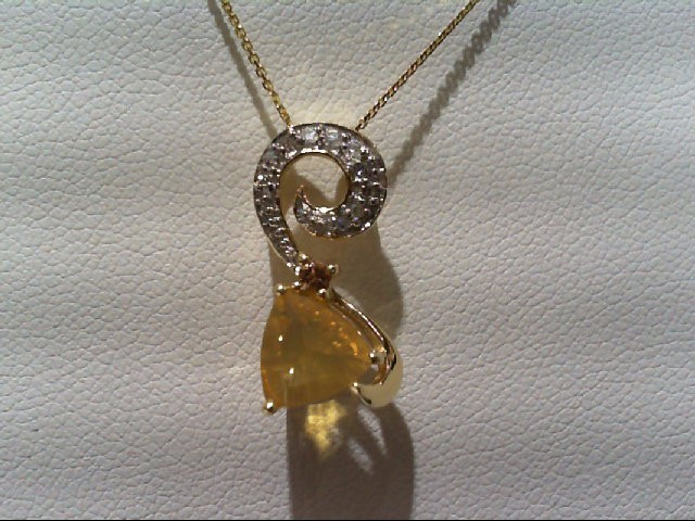 Yellow Stone Gold-Diamond & Stone Pendant 10 Diamonds .10 Carat T.W.
