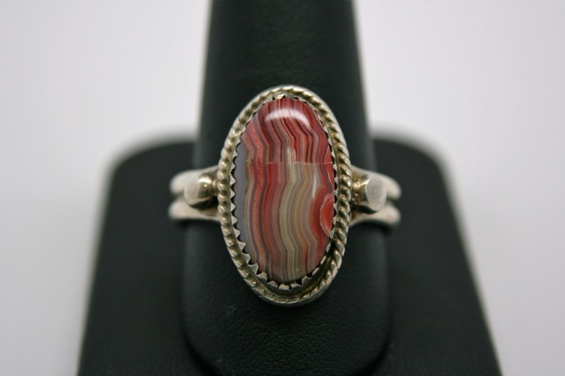 FASHION STYLE AGATE SILVER RING 11.5