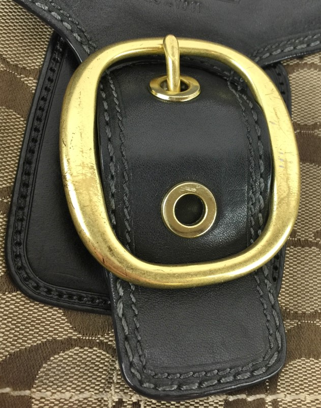 COACH 11434 BLEEKER KHAKI SIGNATURE FLAP HANDBAG
