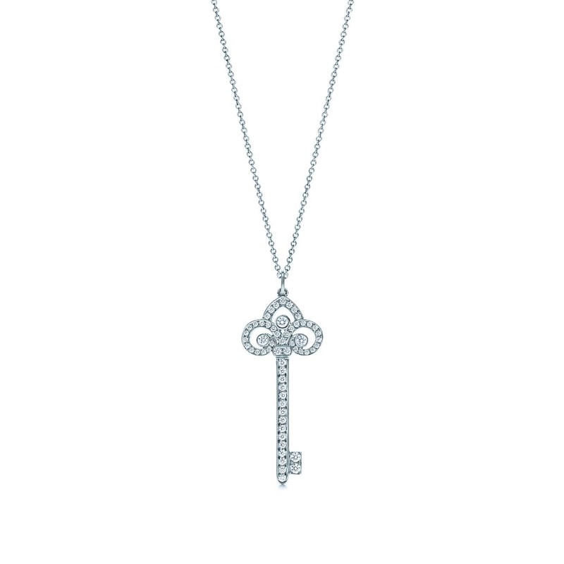 Tiffany & Co. Platinum Key Pendant .41 Carat w/ 18K Tiffany Chain