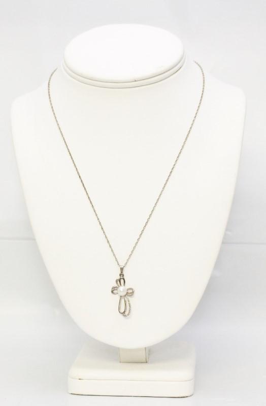 Pearl Silver-Stone Pendant w/ Sterling Silver Chain 925 Silver 2.6g