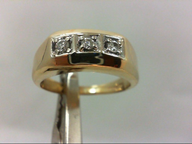Gent's Gold-Diamond Wedding Band 3 Diamonds .09 Carat T.W. 14K Yellow Gold 7.2g