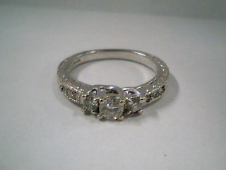 Lady's Diamond Engagement Ring 9 Diamonds .46 Carat T.W. 14K White Gold 3.4g