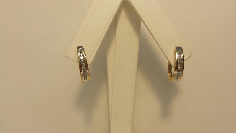 14k 2 Tone Gold Earings with 18 Diamonds at .36ctw - 2.3dwt - Pair