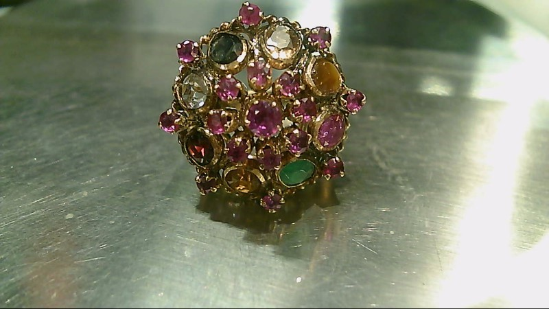 Antique Vintage Style Multi-Colored 14K Yellow Gold Ring Sz 4.5