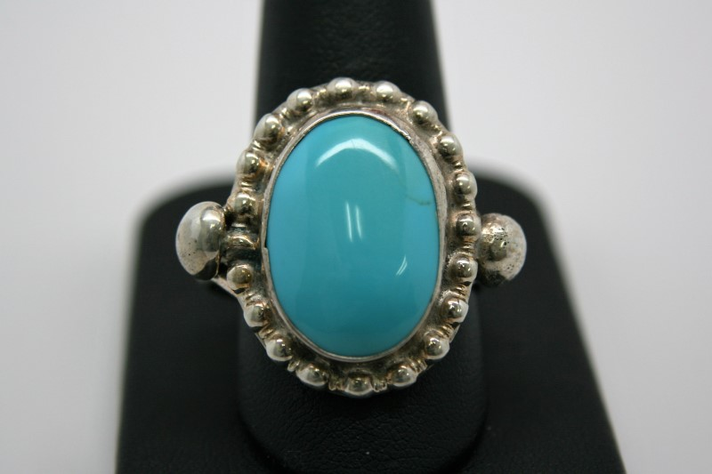 FASHION STYLE TURQUIOSE SILVER RING 12.5