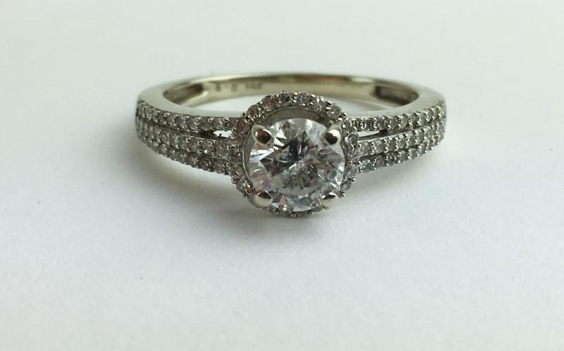 .62cts Diamond Engagement Ring 89 Diamonds 1.50 Carat T.W. 14K White Gold 2.54g