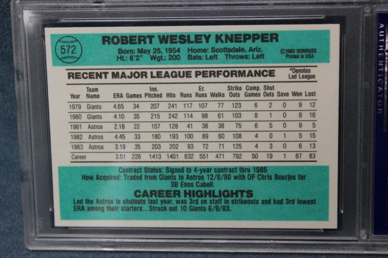 Bob Knepper 1984 Donruss Houston Astros #572 PSA NM 7