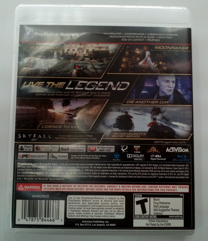 SONY PLAYSTATION 3 GAME PS3 007 LEGENDS
