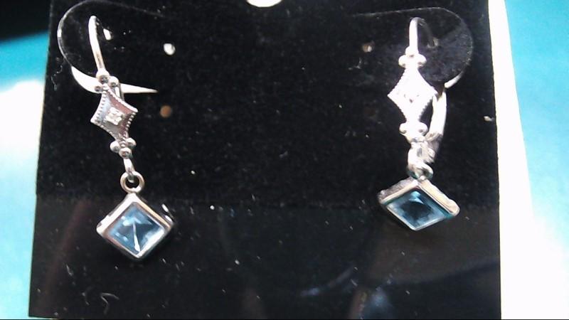 Blue Stone Gold-Stone Earrings 14K White Gold 1g