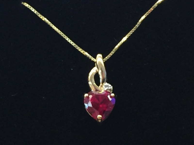 Red Stone Gold-Diamond & Stone Pendant .005 CT. 10K Yellow Gold 0.5dwt