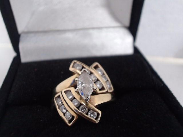 Lady's Diamond Cluster Ring 15 Diamonds 1.10 Carat T.W. 14K Yellow Gold 4g