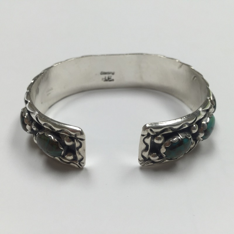 Synthetic Turquoise Silver-Stone Bracelet 925 Silver 17.4dwt