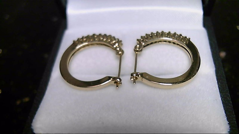 lady's 14k yellow gold diamond hoop earrings