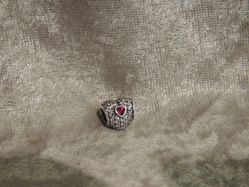 PANDORA CHARM STERLING IN MY HEART, CLEAR CZ & SYNTHETIC RUBY 791168SRU