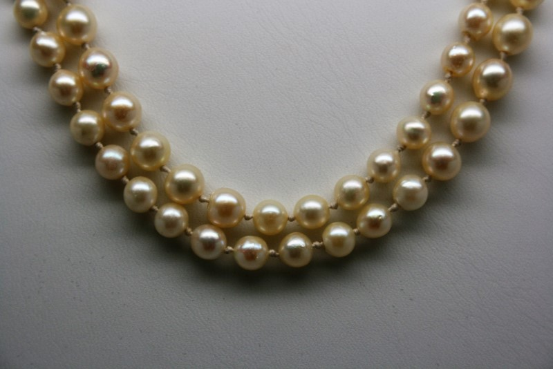 "23""  PEARL NECKLACE W/ 14K YELLOW CLASP"