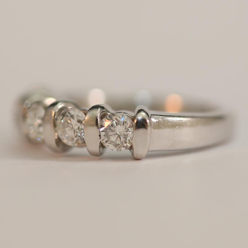 Platinum and Round Brilliant Diamond Wedding Band Size 6