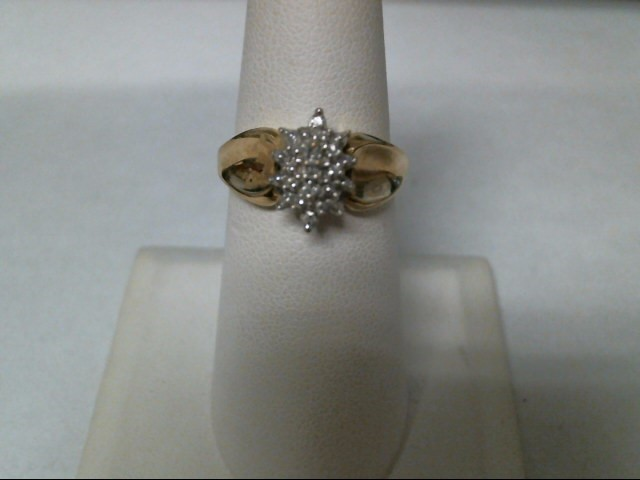 Lady's Diamond Cluster Ring 5 Diamonds .05 Carat T.W. 10K 2 Tone Gold 3g Size:7