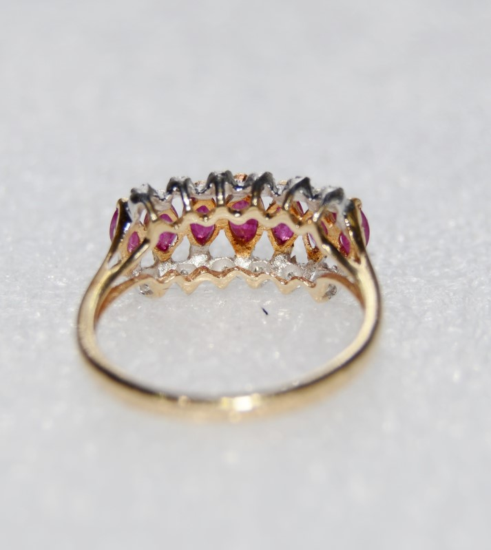 10K Yellow Gold Vintage Inspired Marquise Ruby & Diamond Band Ring SIZE 7