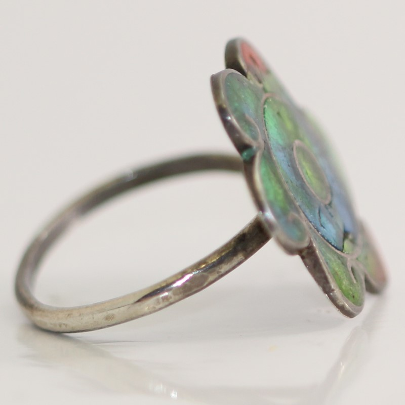 Sterling Silver Vintage Inspired Adjustable Blue, Green, Red Enamel Flower Ring