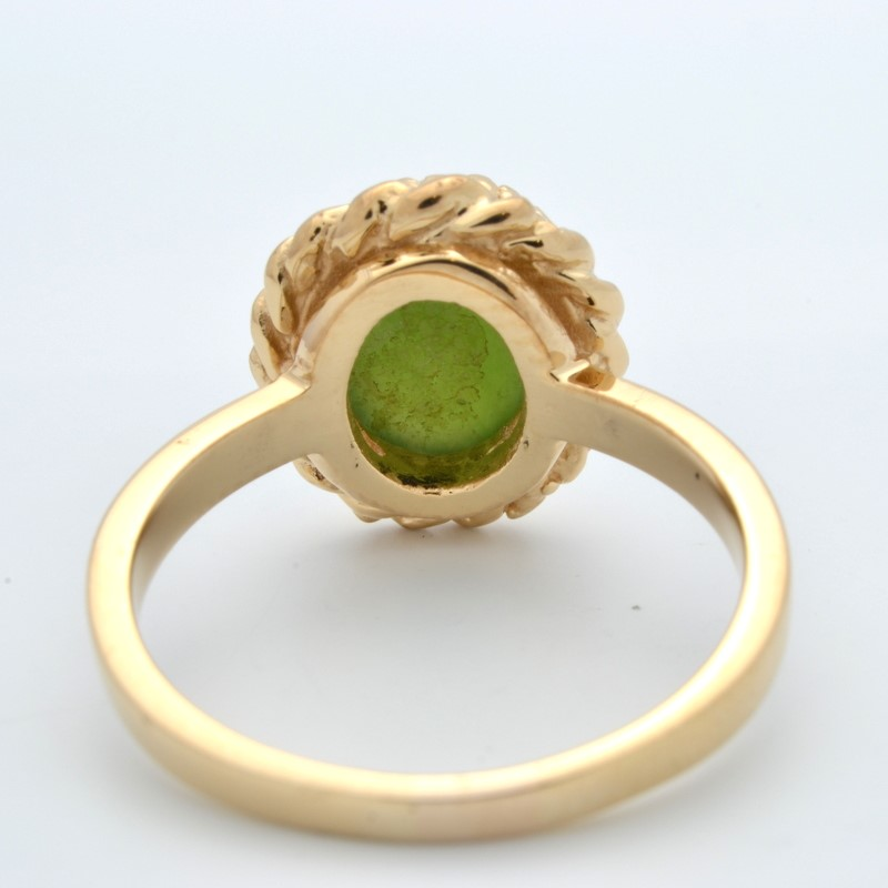 ESTATE JADE GREEN OVAL CUT SOLID 10K YELLOW GOLD RING FINE SIZE 6.5