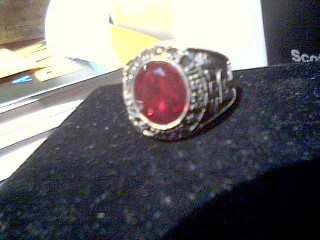 Red Stone Gent's Stone Ring 10K White Gold 9g