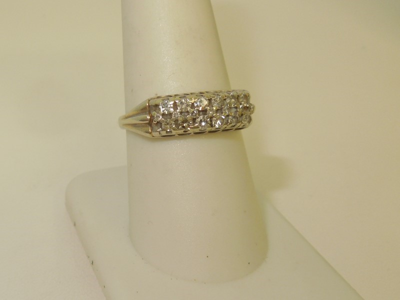 Lady's Diamond Fashion Ring 12 Diamonds .36 Carat T.W. 14K White Gold 3.7g