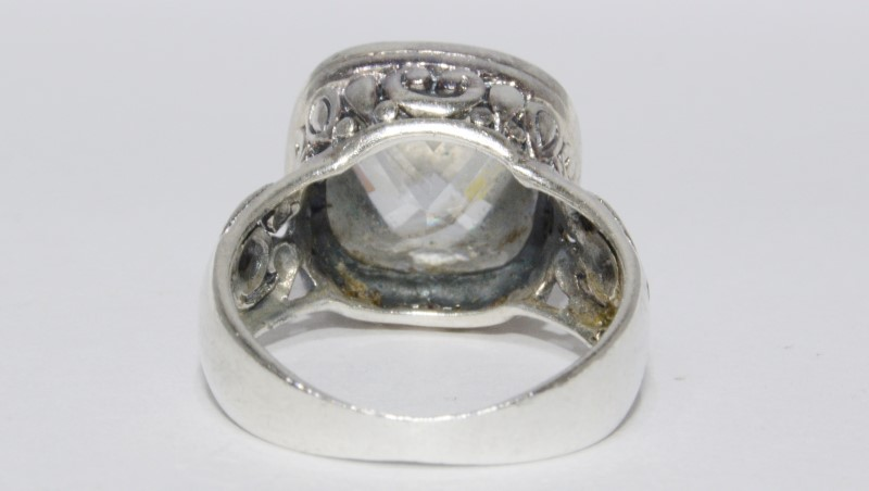 Sterling Silver Vintage Inspired Filigree Multi-Faceted CZ Cocktail Ring sz 7