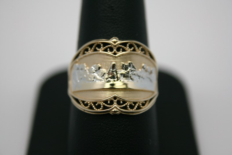 LADY'S RELIGIOUS RING 14K 2TONE GOLD
