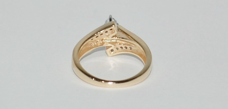 14K Yellow Gold Bypass shank Marquise Shaped Diamond Cluster Engagement Ring sz7