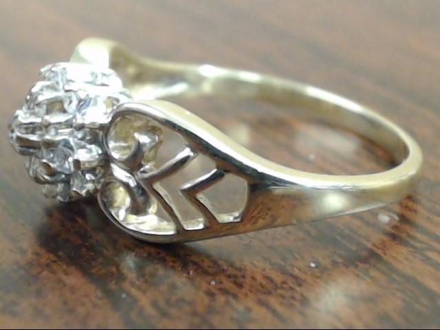 ESTATE NATURAL DIAMOND CLUSTER FILIGREE RING REAL 10K GOLD SIZE 6.5