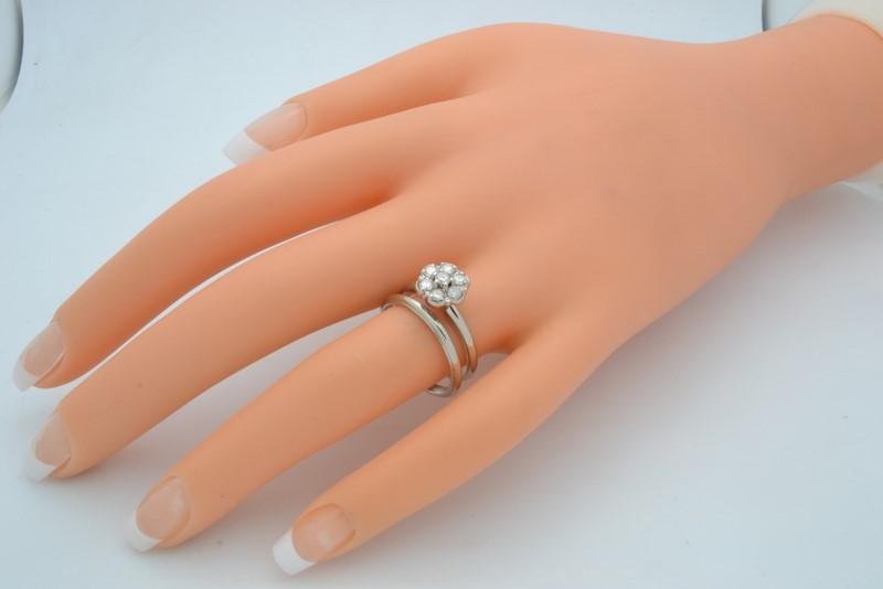DIAMOND WEDDING SET RING BAND SOLID 14K WHITE GOLD FLOWER SIZE 7.25