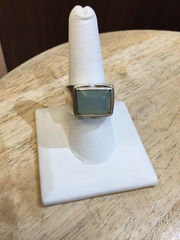 Teal Stone Gent's Silver & Stone Ring 925 Silver 15.5g