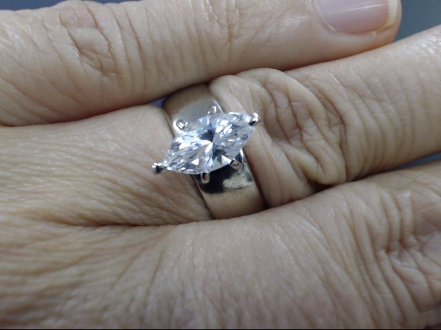 ESTATE MARQUISE CZ ENGAGE WED RING SOLID REAL 14K WHITE GOLD SIZE 8