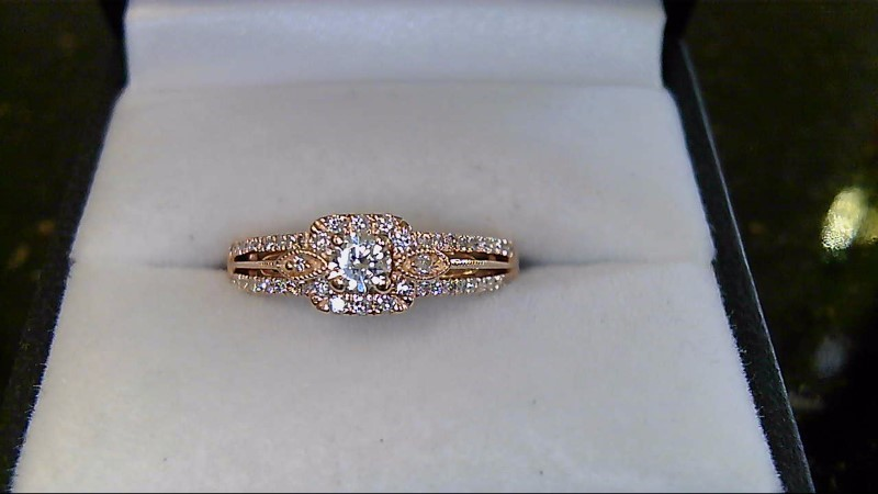14k Rose Gold Round Diamond Engagement Ring Sz 7