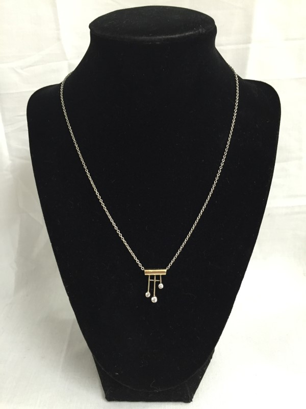 Diamond Necklace 3 Diamonds .20 Carat T.W. 14K 2 Tone Gold 2.9dwt