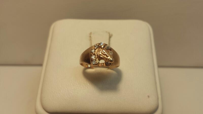 10k Yellow Gold Horseshoe Ring with 7 White Stones - 1.1dwt - Size 3