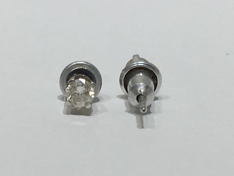 Gold-Diamond Earrings 2 Diamonds .30 Carat T.W. 14K White Gold 0.45g