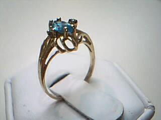 Synthetic Blue Topaz Lady's Stone & Diamond Ring 2 Diamonds .02 Carat T.W.