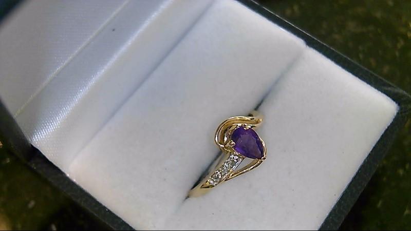 Synthetic Oval Amethyst Lady's Stone & Diamond Ring Sz 7.75