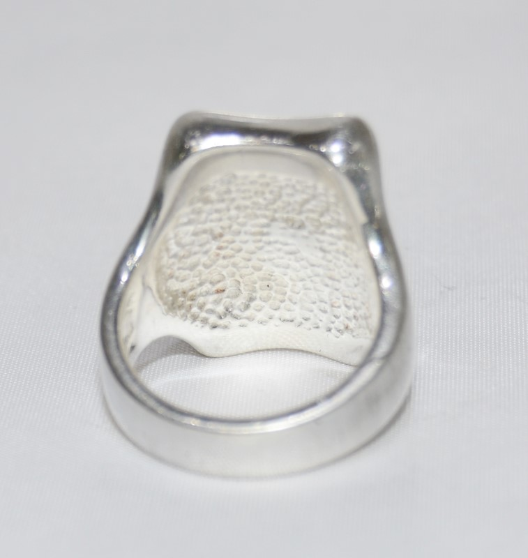 Heavy Sterling Silver Flat Polished Rectangle Statement Ring Size 7