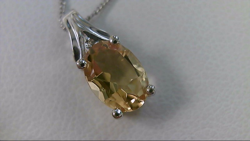 Citrine Stone Necklace 10K White Gold 1.5g