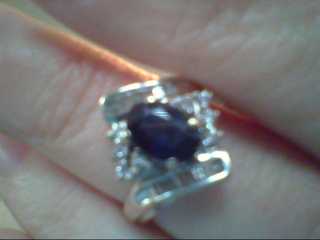 Blue Stone Lady's Stone & Diamond Ring 24 Diamonds .24 Carat T.W.