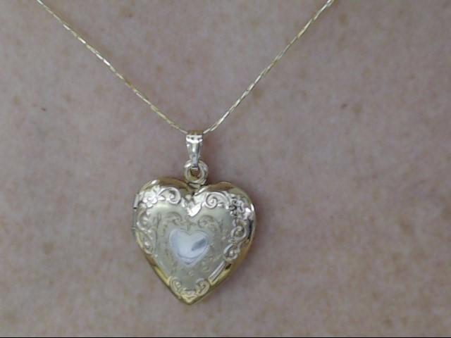 VINTAGE FANCY DESIGN HEART LOCKET PENDANT CHARM SOLID REAL 14K GOLD